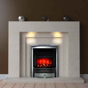 Avis Limestone fireplace with downlights and an inset electric fire