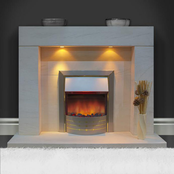 Cuba Limestone fireplace with added downlights displayed with an inset electric fire