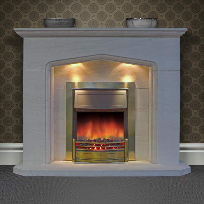 Vigo Limestone fireplace with the addition of down lights shown with an inset electric fire