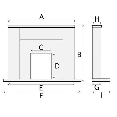 Fireplace with no shelf overhang. Box style diagram.