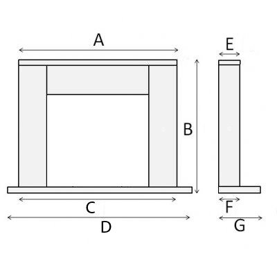 Fireplace diagram. Package with no shelf. Box style diagram